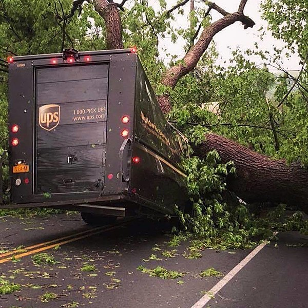 Teen Driving App >> UPS Truck Crushed By Fallen Tree in Hudson Valley