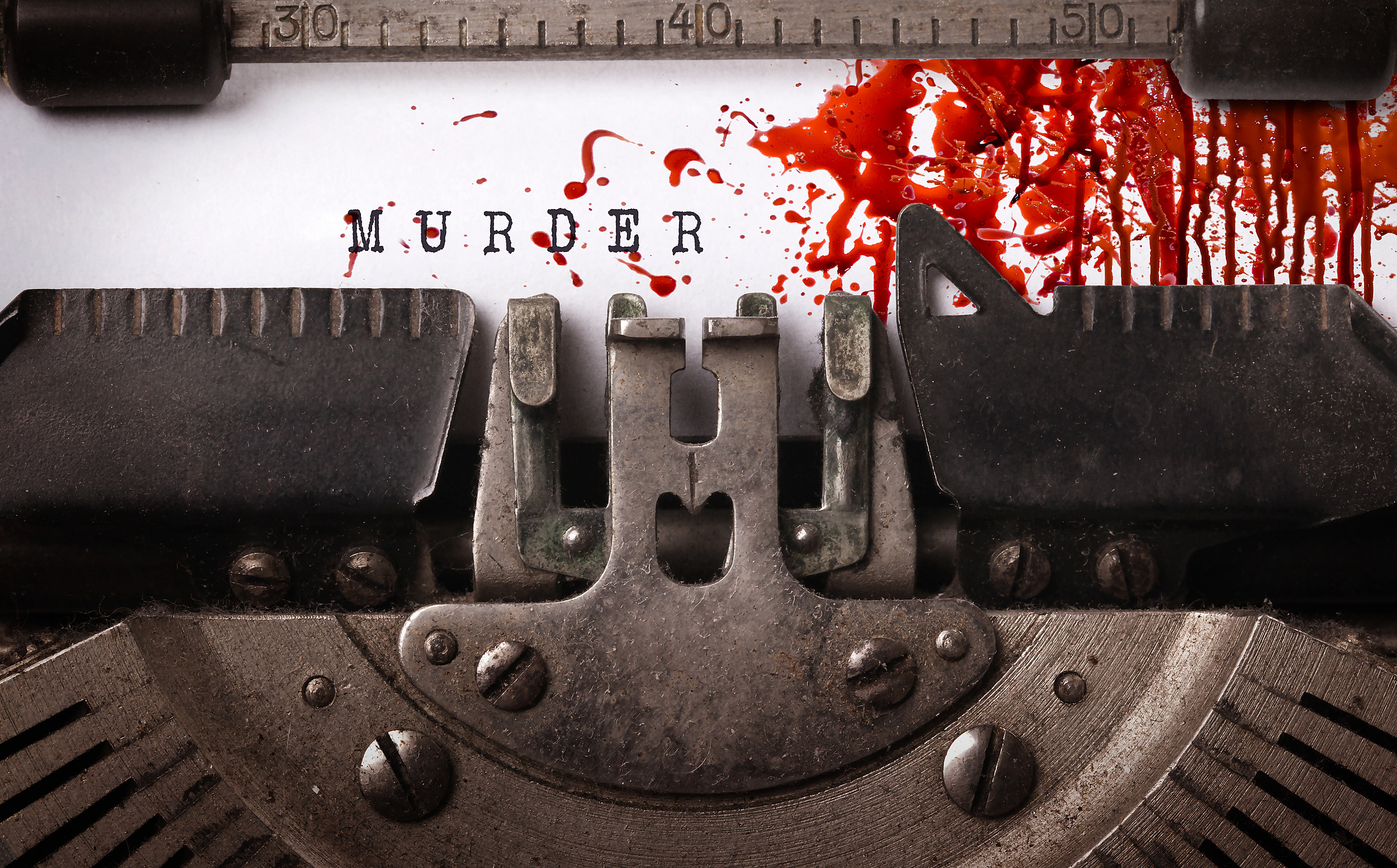 Bloody note - Vintage inscription made by old typewriter